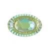 Resin Sew-on Piikki Stones 10pcs 20x30mm Oval Lime Aurora Borealis